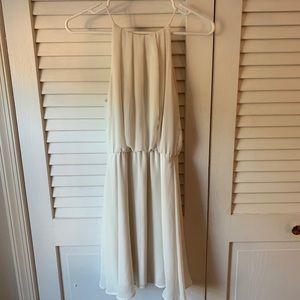 Lush White High Neck Keyhole Flowy Dress Sz S